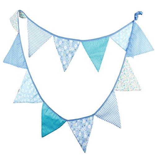 Topsaire Wimpel Banner Blauer Wimpel Baumwolle Banner für Weihnachten Hochzeit Geburtstag Party Dekor