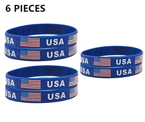 LiFashion LF 2018 WM Flagge USA Amerikanische Flagge Gummi Armband Sets Inspirational Patriotischen Geist Silikon Armband für Männer Frauen 2018 FIFA World Cup Sports Fans Pc World Usa