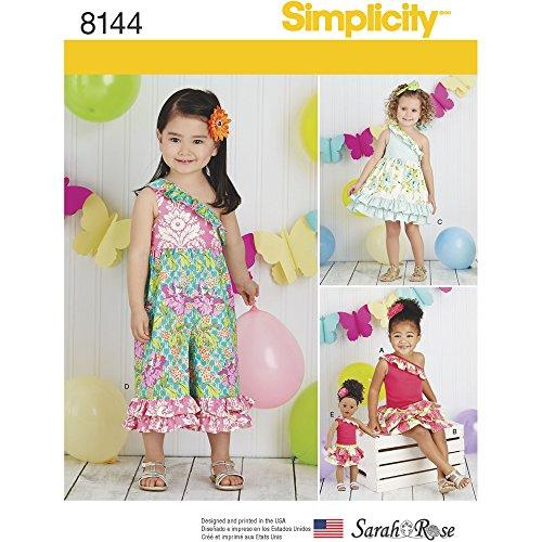 Simplicity 8144Toddlers 'Tessuto Misto Abiti e Vestiti per Bambole 46cm, Cartamodello, Bianco