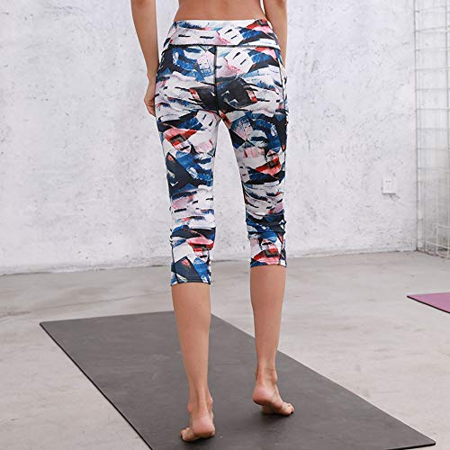 TianWlio Leggings Damen Frauen Hohe Taille Pocket Drucken Sport Yoga Fitness Leggings Wadenlänge Hosen Blau XL