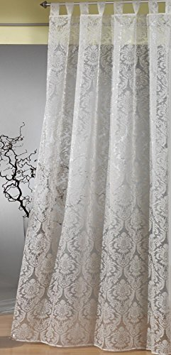heimtexland Gardine Schlaufenschal Barock transparent mit Flock Ornamenten in champagner HxB 235x140...