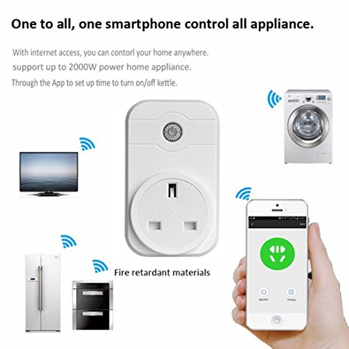 Price comparison product image Hunpta WIFI Smart APP Remote Control Timer Socket UK Plug Home Automation (White)