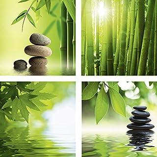 Artland Qualitätsbilder | Glasbilder Deko Glas Bilder 20 x 20 cm mehrteilig Wellness Zen Foto mit Bambus Steinen Wasser F2BG