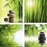 ARTland Qualitätsbilder I Glasbilder Deko Glas Bilder 20 x 20 cm mehrteilig Wellness Zen Foto Grün F2BG Spa Stillleben, Asiatischer Bambuswald, Grüne Blätter reflektieren, Zen Steinpyramide auf Wasser