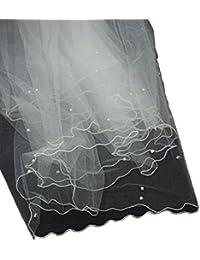 Élégant voile de mariéee en tulle à 2 épaisseurs avec bordure, parsemé de fausses perles. Produit offert par NYfashion101.