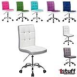 Bürostuhl LADYLIKE von 1stuff - natürlich auch für IHN - höhenverstellbarer und 360 drehbarer Schreibtischstuhl, Schreibtischsessel, Rollhocker, Drehstuhl, Drehsessel, Arbeitsstuhl, Besprechungsstuhl, Arbeitshocker, Küchenstuhl (weiß, Lederimitat)