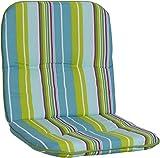 Beo Gartenstuhlauflage Gartenstuhlkissen Sitzkissen Polster für Niedriglehner Gartenstühle Streifen hellgrün türkis hellblau Weiss