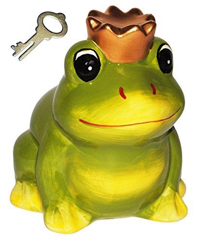 """Spardose - """" Frosch mit Krone / Froschkönig """" - stabile Sparbüchse mit Schlüssel - aus Keramik / Porzellan - Sparschwein lustig witzig - Prinz - Traummann / Prinzen - Liebe - für Erwachsene / Kinder Mädchen Jungen - Schwein"""