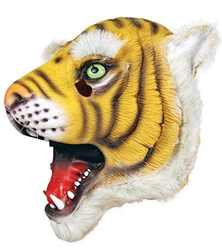 Damen Herren Rubber Das Gesicht Bedeckend Maske Animal Halloween Kostüm Kleid Outfit Zubehör - Tiger (Herren Tiger Halloween Kostüm)