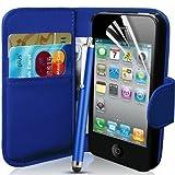 Connect Zone Étui portefeuille pour Apple iPhone 4/4S avec protecteur d'écran, chiffon de nettoyage et stylet Bleu