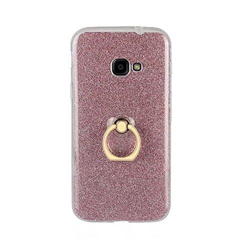EKINHUI Case Cover Weiche flexible TPU rückseitige Abdeckungs-Fall Shockproof schützende Shell mit Bling Glitter funkelt und Kickstand für Samsung-Galaxie Xcover 4 G390F ( Color : White ) Pink