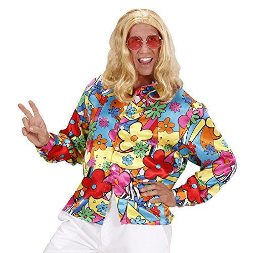 Buntes Hippiehemd Blumenhemd Herren S 48 Flower Power Hemd Hippie Kostüm Männer Schlagermove Outfit 60er 70er Jahre Kleidung