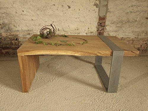 Eiche Couchtisch massiv, gezinkt, sandgestrahlte Oberfläche, eingelassener Stahlfuß, Unikat Maß 108 x 63 x 45 cm Couchtisch, Tisch industriell Design, Loft-Tisch