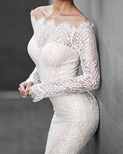 LaoZan Femmes Élégante Couleur Pure Manches Longues Robe En Dentelle Fishtail Blanc