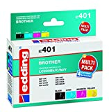 Edding 18-401 - Cartucce per stampante EDD-401, CMYK, ricambio per Brother LC900Bk / LC900C / LC900M / LC900Y