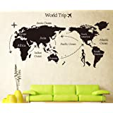 Mundo Viaje Mapa adhesivo decorativo para pared en color negro
