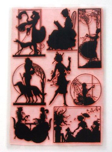Jugendstil-Silhouetten / Grosse Blatt Klare Stempel 20x25cm