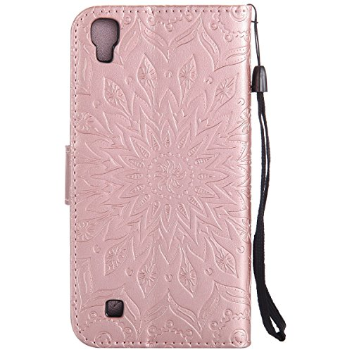 Coque Cuir Etui Pour Motorola Moto G2,Moto G2 Portable Coque Housse,Ekakashop Jolie Pourpre Tournesol Painting Bookstyle Rabat Shell Silicone Etui Flip Cover Smart Case Housse de Protection Portefeuil Rose D'or