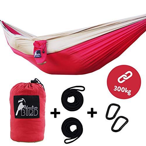 Adventure Bird Outdoor Hängematte im Set - mit Seil und Karabiner auch als Decke nutzbar - trägt 300 kg - der ultraleichte Hammock ist ideal für Camping Reise Garten Gestell Balkon oder Indoor