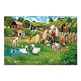 Tapete selbstklebend Kinderzimmer - Tiere auf dem Bauernhof - Wandbild Querformat, HxB: 225 x 360cm