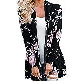 Ronamick Strickjacke Cardigan Strickmantel Damen Floral Jacke vorne offen Kimono Mantel lässig Strickjacke Mantel Outwear Top Bluse (Schwarz, L)