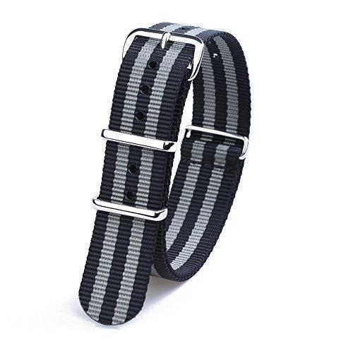 randon-cinturini-nato-in-nylon-balistico-cinturino-con-fibbia-in-acciaio-inossidabile-black-gray-bon