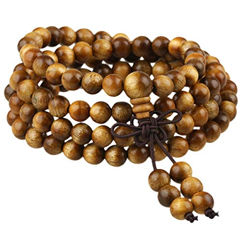 KYEYGWO 108 Natürlich Holz 6mm Mala Perlen Armband für Damen Herren, Meditation Gebet Wickelarmbänder Tibetisch-buddhistischen Stretch-Armbänder Halskette - Halskette Buddhismus Gebet Perlen