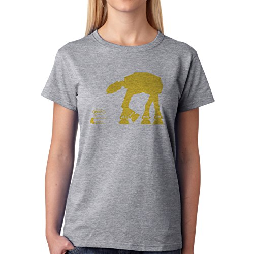 Robot Metal Cyborg Cartoon Star Wars Bright Yellow Edition Damen T-Shirt Grau