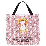 Mr. & Mrs. Panda Strandtasche, XXL, Shopper Einhorn Prinzessin mit Spruch - Farbe Glitzer Rosa