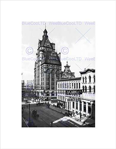 wisconsin-street-milwaukee-1900-vintage-old-bw-black-framed-art-print-b12x1407