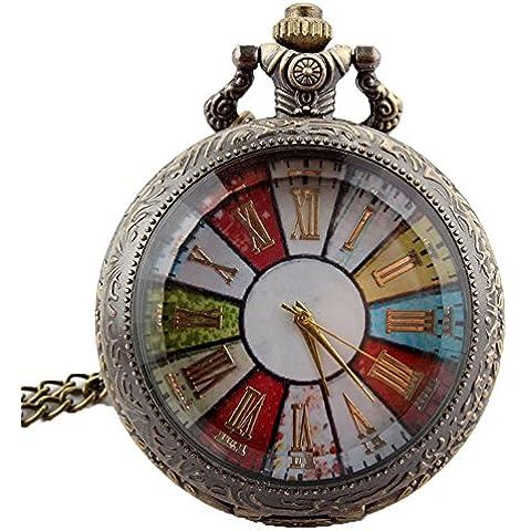 gorben Retro Rueda Roma Vintage cuarzo Relojes de bolsillo colgante collar cadena + caja de oro