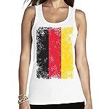 Shirtgeil Coppa del Mondo Fan Germania Bandiera Vintage Canottiera da Donna Medium Bianco