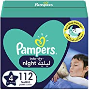 Pampers Baby-Dry Night, Size 4, 10-15 kg, 112 Diapers