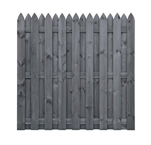 *Sichtschutzzaun | Holz | holländisch | 180x180x5 | Dichtzaun Holzzaun Gartenzaun Bretterzaun | Kiefer | Massiv | Grau | Holzlasur | Wooder*