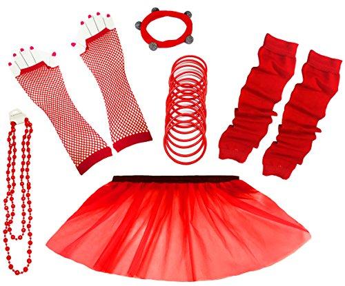 A-Express 80er Damen Neon Tütü Rock Ebene Beinstulpen Handschuhe Halskette Tüll Fluo Ballett Verkleidung Party Tutu Rock Kostüm Set (36-44, - Rot Party Kostüm