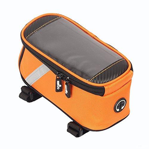 VAIIGO Fahrradtasche und Handy Halterung wasserabweisende Fahrrad tasche. Rahmen tasche Fahrrad tasche mit Handy (passend bis zu 5,5 Zoll) Orange