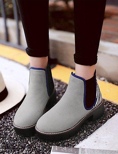 ShangYi Mode Frauen Schuhe Damenschuhe Kunstleder Frühjahr / Herbst / Winter Fashion Stiefel & Party Abend / Kleid / Casual Ferse Grau
