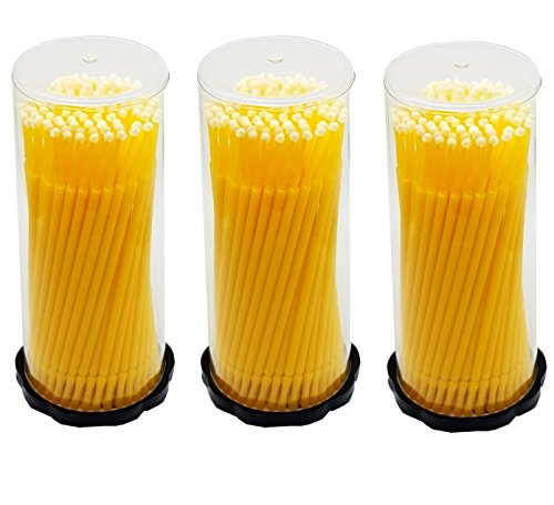 3 x 100 pièces Applicateur en microfibre Lot de 300 bâtonnets de nettoyage de Jaune 2 mm pour extensions de cils