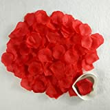 1000 Pcs Pétalos de Rosa en Seda, Flores Artificiales Románticas para Decoración Bodas Fiestas Confeti y Dia de San Valent, Color Rojo