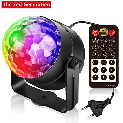 Disco Lichteffekte Discokugel LED Disco Licht Beleuchtung mit Fernbedienung 3W DJ Disco Lichter mit 4-Modus, Ein- / Ausschalter auf der Fernbedienung, Partylicht LED kann für Disco, Bar,Geburtstagspa