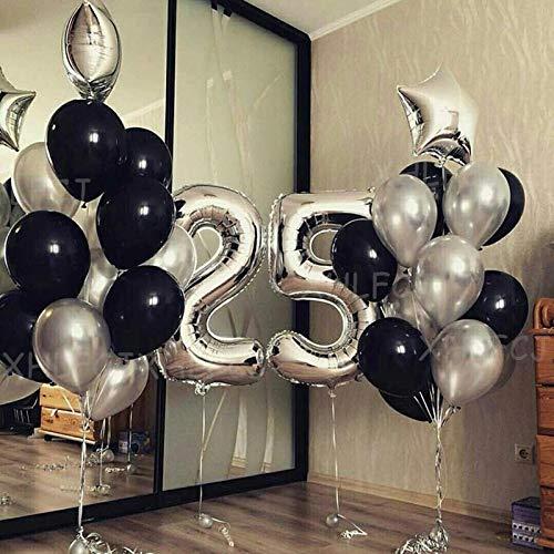 25 teile/los 40 zoll Silber Anzahl 25 Luftballons Erwachsene Geburtstag Party Dekorationen Kinder Sterne Schwarz Latex Helium Ballon Jahrestag