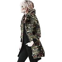 abrigos de mujer invierno elegantes baratos chaqueta moto mujer deportivas Sannysis Chaqueta con capucha y mangas largas Rompevientos Camuflaje Outwear (XL, Camuflaje)