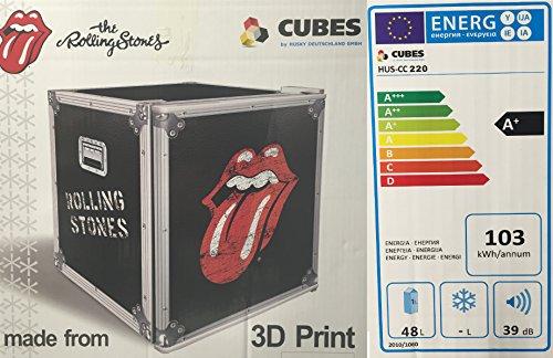 Husky HUS-CC 220 Coolcube Cool Cube Flaschenkühlschrank Rolling Stones / A / 51 cm Höhe / 84 kWh/Jahr / 50 L Kühlteil inkl. Reinigungstuch