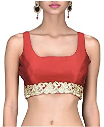 SINGAAR Maroon Sleeveless Readymade Blouse- Round Back Design - Lace, Latkan & Dori -All Sizes-100% Perfect Fitting