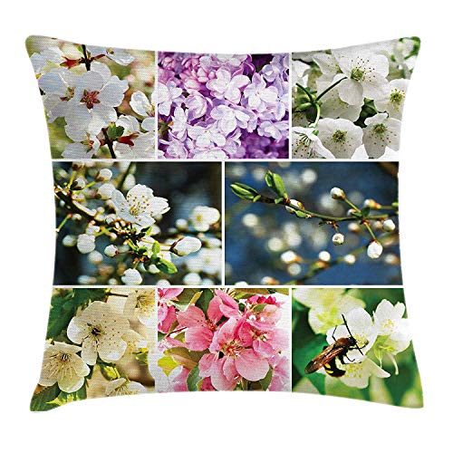 BUZRL Cherry Tree Throw Pillow Cushion Cover, Spring Collage with Twiggy Cherry Blossom Sakura Trees and Jasmine Branches, Decorative Square Accent Pillow Case, 18 X 18 inches, Multicolor