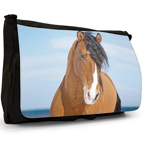 Elegante, motivo: cavalli, misura grande, colore: nero, Borsa Messenger-Borsa a tracolla in tela, borsa per Laptop, scuola Nero (Brown Horse With Black Mane)