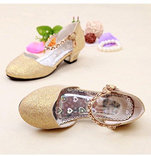 Scothen Princesse chaussures paragraphe Costume Ballerina boucle Chaussures paillettes Ballerines Carnival Festive enfants chaussures chaussures fête fille Baptême Communion célébration mariage Or