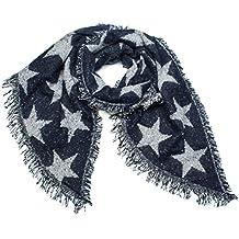 b3f2da958f22ce styleBREAKER Damen XXL Schal mit Sterne, Perlen und Fransen, Winter  Strickschal 01017100