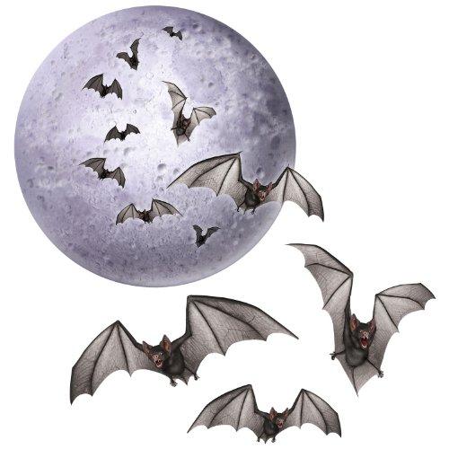 Aufsteller Mond und Fledermaus, 4 Stück