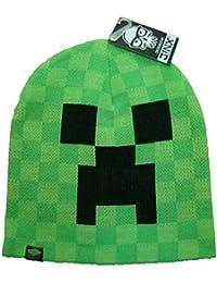 Minecraft - gorro de creeper - de gran calidad, un toque de color en cualquier estación, capa doble, cálido, verde chillón